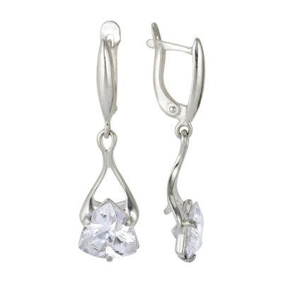 Серебряные серьги-висюльки с белым фианитом треугольной формы на необычном креплении для истинных
